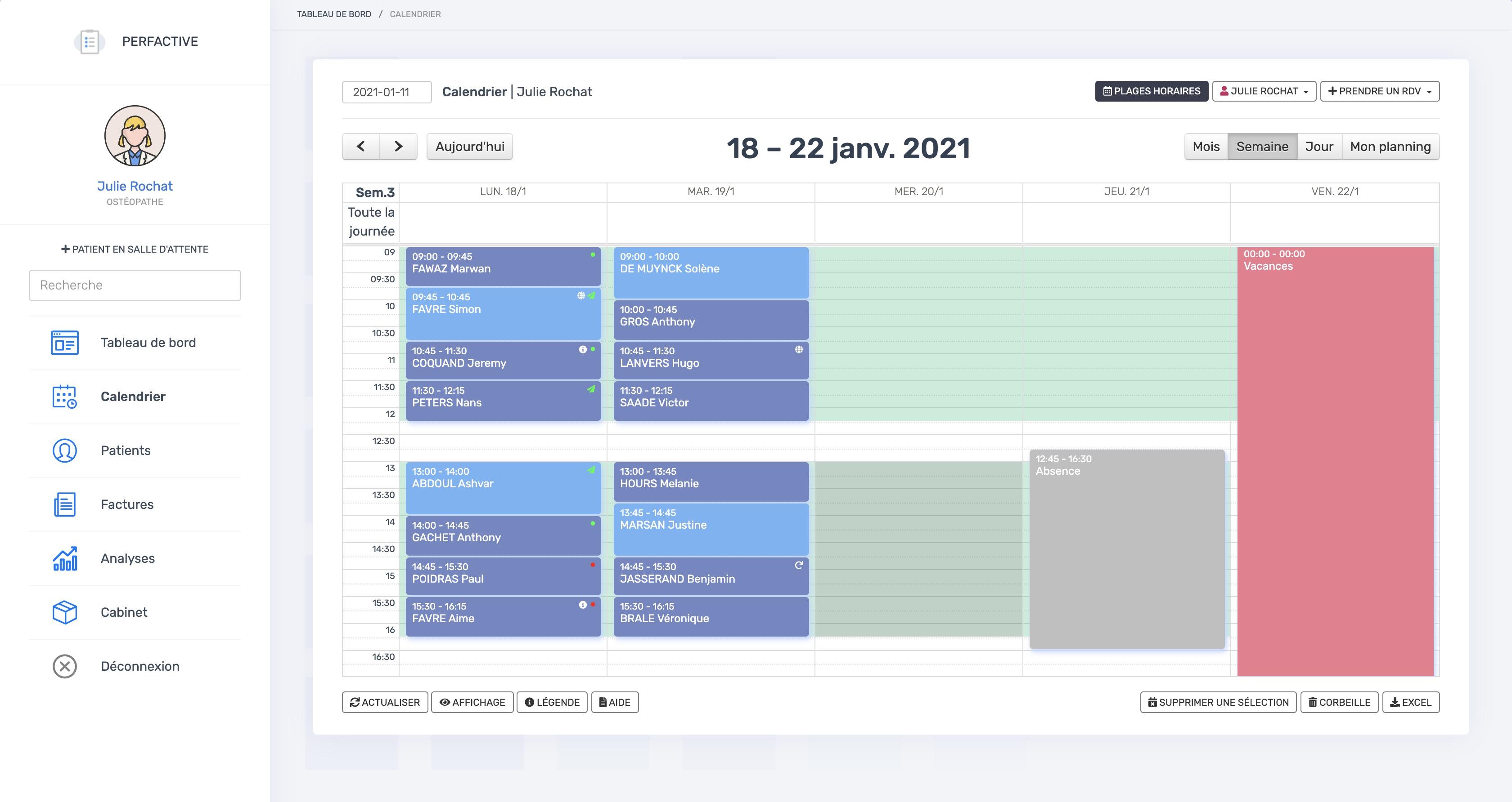 Le calendrier | THERACIEL