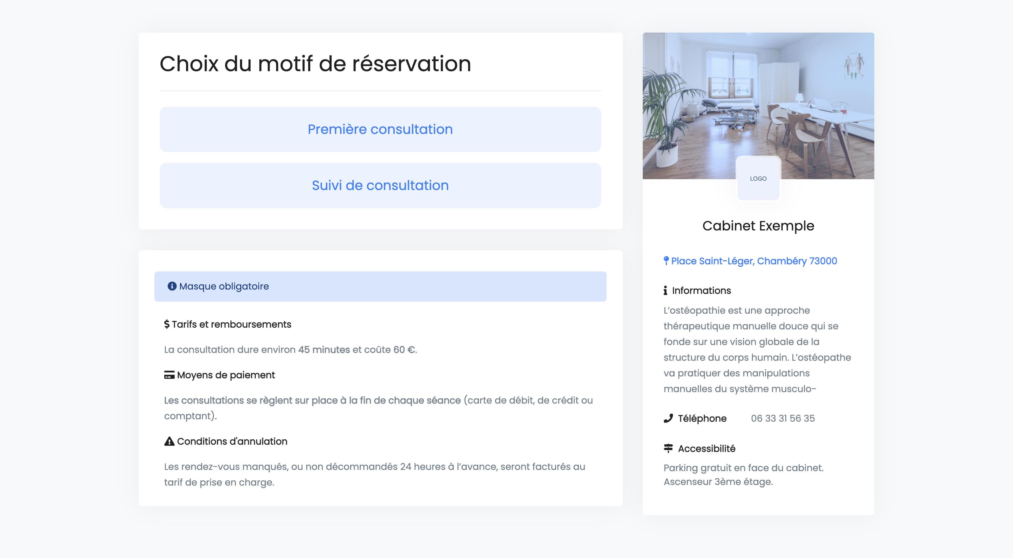 Réservation en ligne | Choix du motif de consultation | THERACIEL